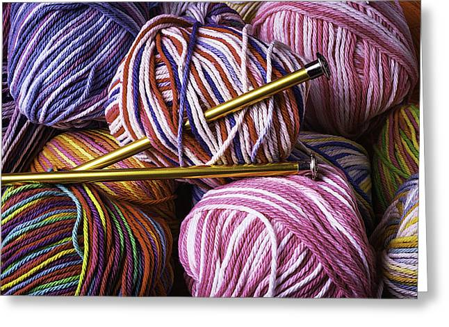 Yarn And Knitting Needles Greeting Card by Garry Gay