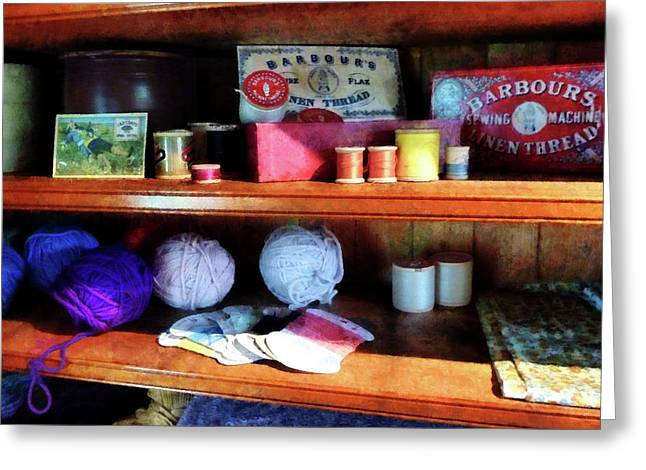 Yarn And Thread In General Store Greeting Card by Susan Savad