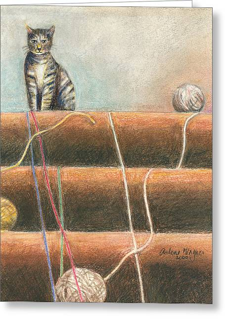 Playful Pastels Greeting Cards - Yarn...What Yarn  Greeting Card by Arline Wagner
