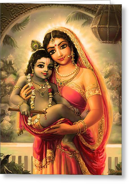 Yashoda And  Krishna 4 Greeting Card by Lila Shravani