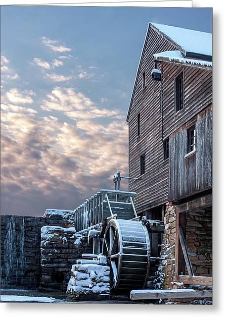Yates Mill. Winter Sunset Greeting Card