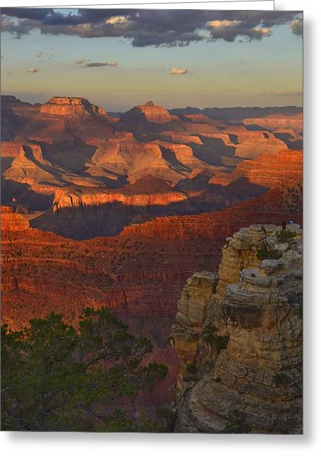 Greeting Card featuring the photograph Yavapai Point Sunset by Stephen  Vecchiotti