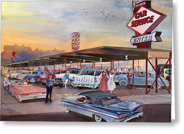 Fries Greeting Cards - Yaws Top Notch Drive In Greeting Card by Mike Hill