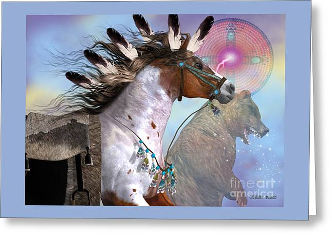 Year Of The Bear Horse Greeting Card by Corey Ford