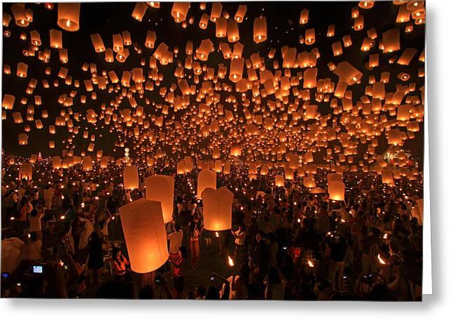 Yee Peng Festival In Thailand Greeting Card by Sanchai Loongroong