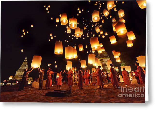 Night Lamp Greeting Cards - Yeepeng Greeting Card by Buchachon Petthanya