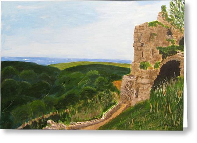 Greeting Card featuring the painting Yehiam Fortress by Linda Feinberg