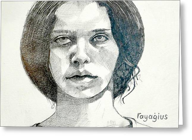 Greeting Card featuring the drawing Yelena by Ray Agius