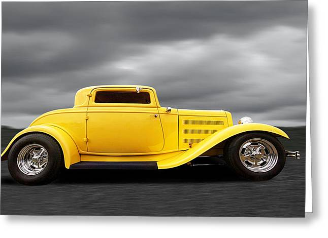 Yellow 32 Ford Deuce Coupe Greeting Card by Gill Billington