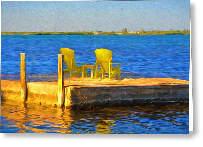 Yellow Adirondack Chairs On Dock In Florida Keys Greeting Card