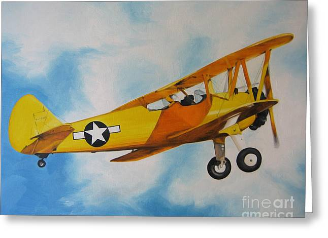 Yellow Airplane - Detail Greeting Card by Jindra Noewi