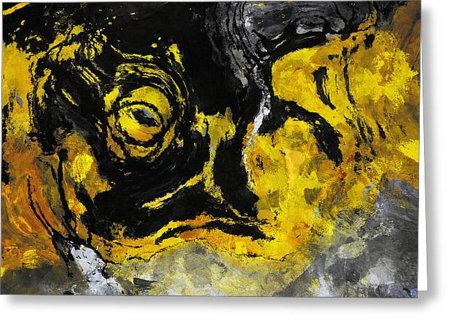 Greeting Card featuring the painting Yellow And Black Abstract Art by Ayse Deniz