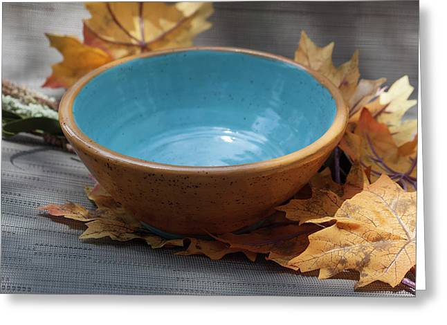 Yellow And Blue Bowl Greeting Card
