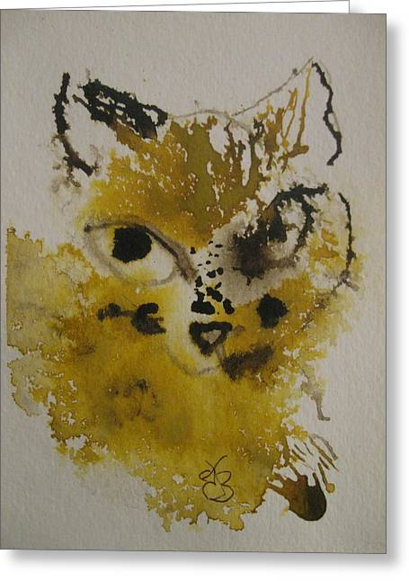 Greeting Card featuring the drawing Yellow And Brown Cat by AJ Brown