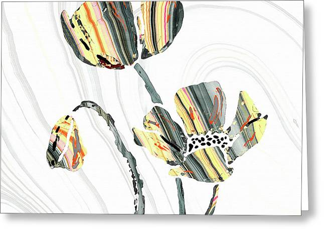Yellow And Gray Flowers - Sharon Cummings Greeting Card