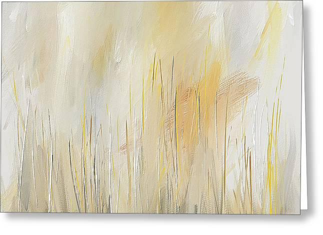 Yellow And Gray Modern Wall Art Greeting Card