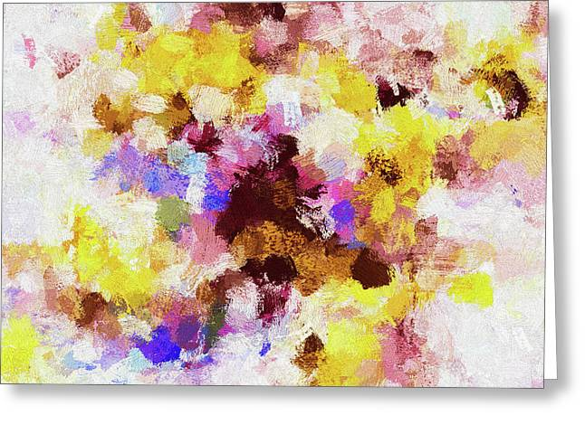 Greeting Card featuring the painting Yellow And Pink Abstract Painting by Ayse Deniz