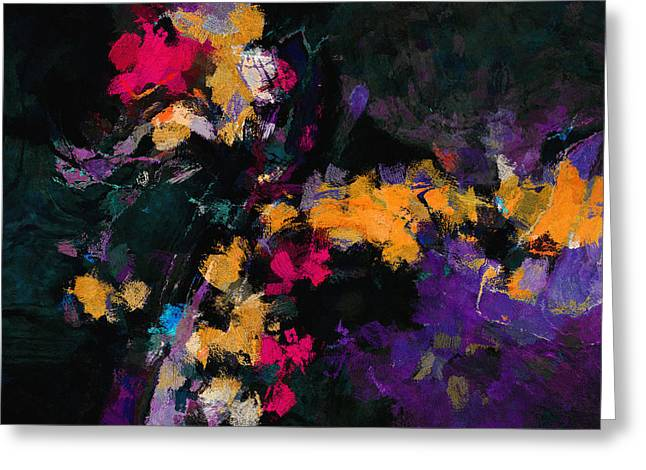 Greeting Card featuring the painting Yellow And Purple Abstract / Modern Painting by Ayse Deniz