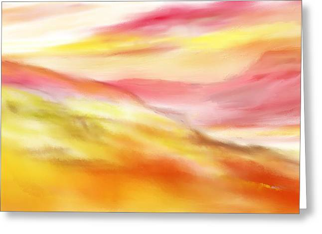 Yellow And Red Landscape Greeting Card