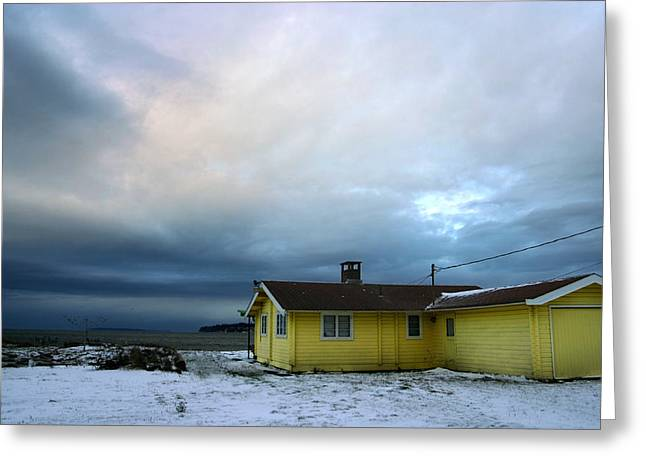 Yellow And Snow And Blue Greeting Card by Julius Reque