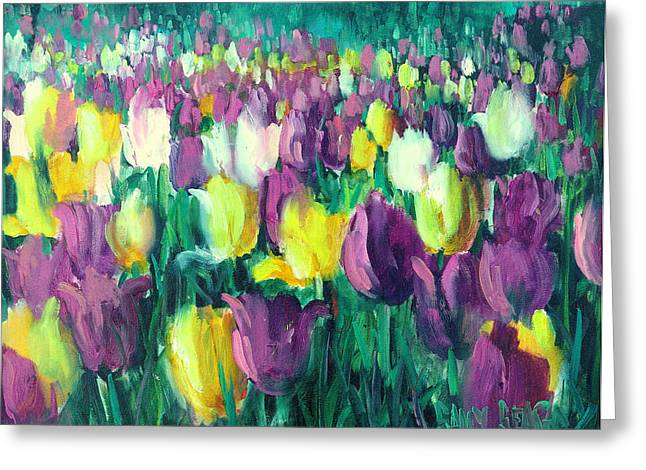 Yellow And Violet Tulips Greeting Card by Sally Seago