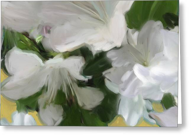 Yellow And White Flower Art 2 Greeting Card