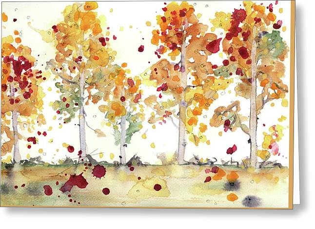 Greeting Card featuring the painting Yellow Aspens by Dawn Derman