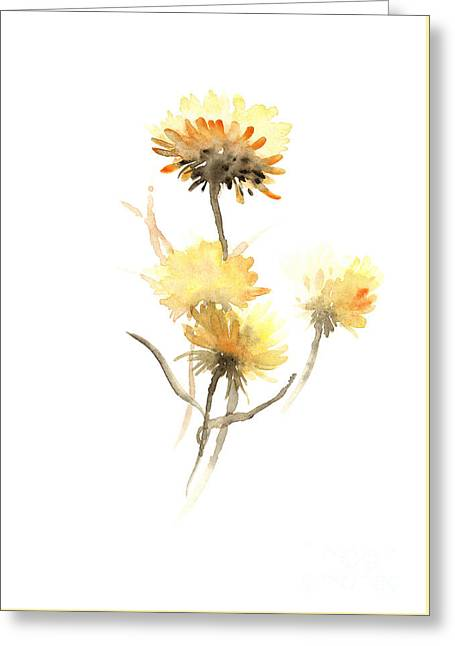 Yellow Aster Flowers Watercolor Poster Greeting Card by Joanna Szmerdt