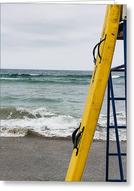 Yellow Surfboard Greeting Card