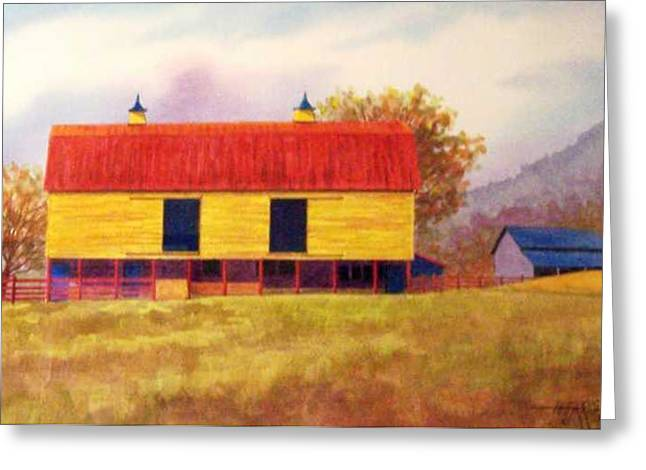 Yellow Barn Greeting Card by Hugh Harris
