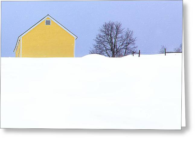 Yellow Barn In Snow Greeting Card by John Vose