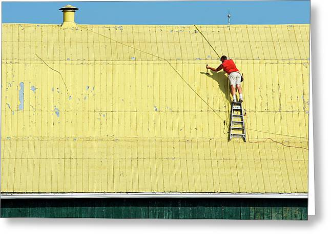 Yellow Barn Roof Workers-7 Greeting Card