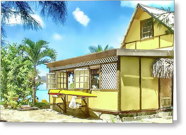 Greeting Card featuring the photograph Yellow Beach Bungalow Bora Bora by Julie Palencia