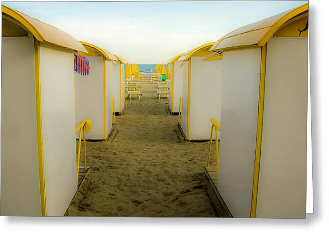 Yellow Beach Cabanas Greeting Card