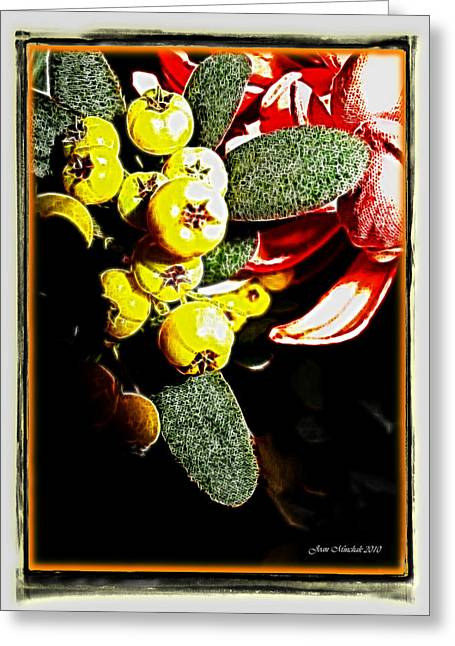 Greeting Card featuring the photograph Yellow Berries by Joan  Minchak