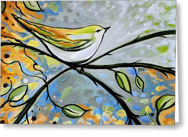 Yellow Bird Among Sage Twigs Greeting Card