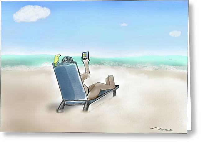 Yellow Bird Beach Selfie Greeting Card
