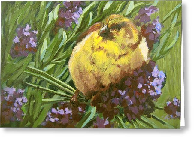 Greeting Card featuring the painting Yellow Bird by Karen Ilari