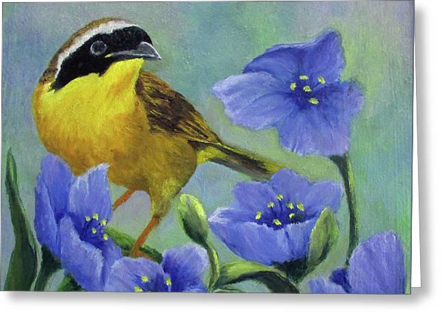 Yellow Bird Greeting Card by Roseann Gilmore