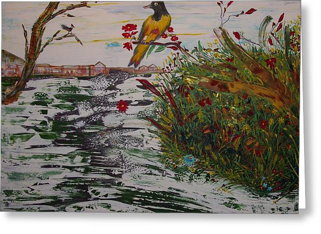 Greeting Card featuring the painting Yellow Bird by Sima Amid Wewetzer