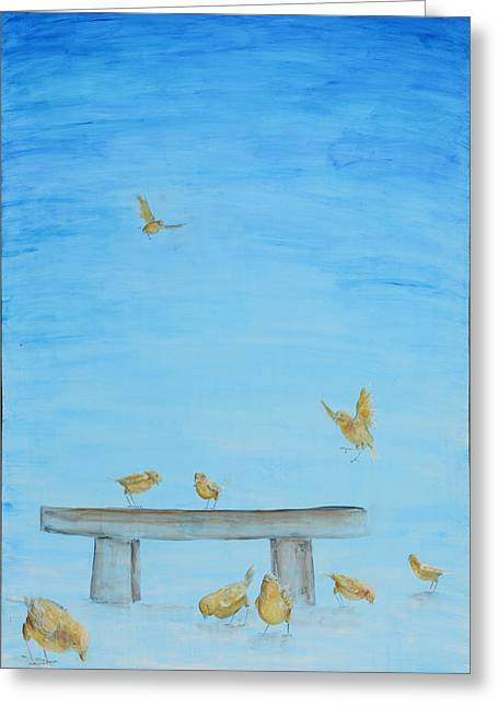 Greeting Card featuring the painting Yellow Birds In The Blue1 by Nik Helbig