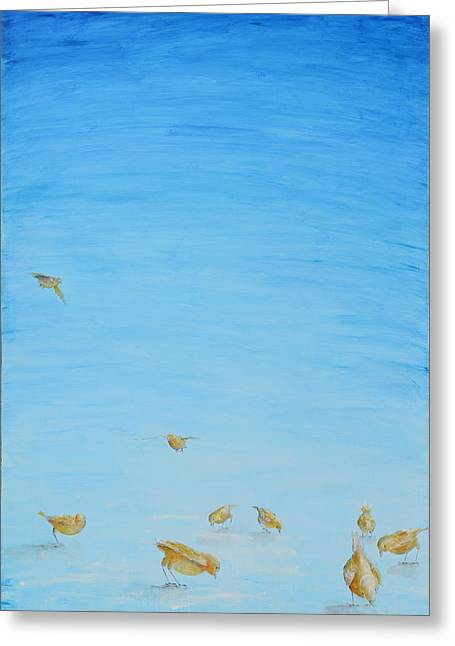 Greeting Card featuring the painting Yellow Birds In The Blue2 by Nik Helbig