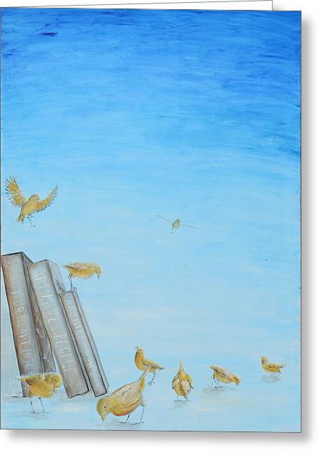 Greeting Card featuring the painting Yellow Birds In The Blue3 by Nik Helbig