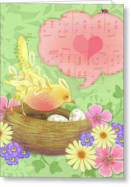 Yellow Bird's Love Song Greeting Card