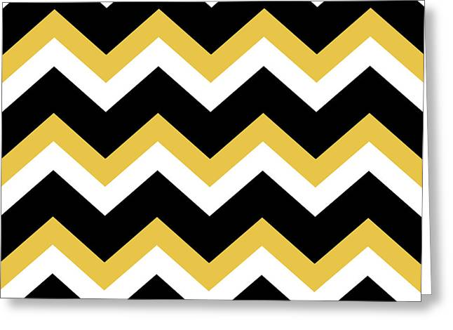 Yellow Black Chevron Greeting Card