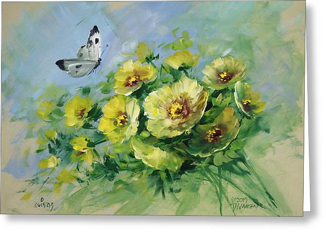 Yellow Blossoms And Butterfly Greeting Card by David Jansen