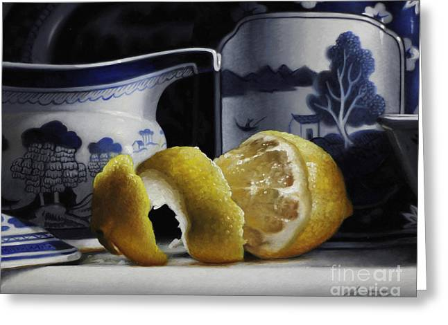 Yellow Blue And White Greeting Card by Larry Preston