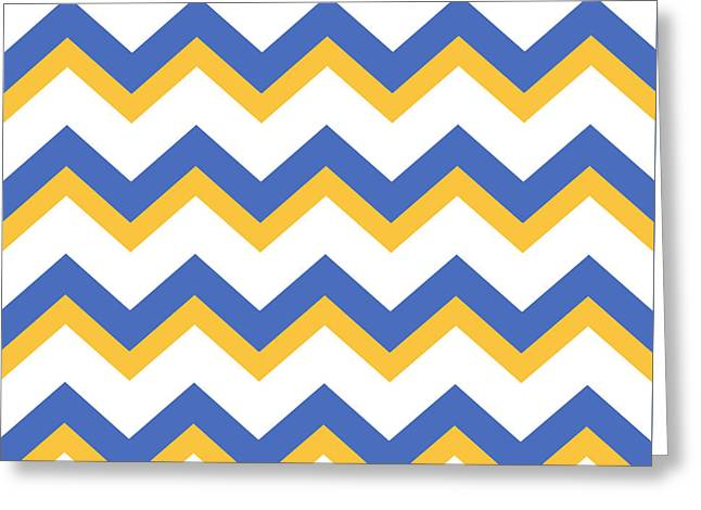 Yellow Blue Chevron Pattern Greeting Card