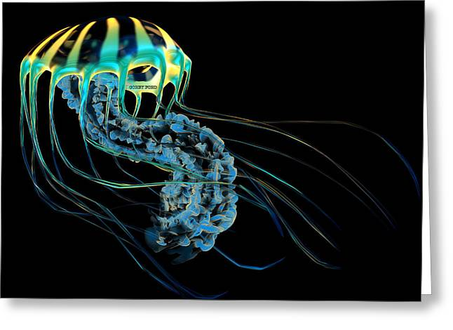 Yellow Blue Jellyfish Greeting Card by Corey Ford