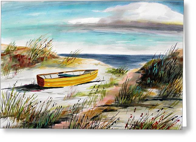 Yellow Boat B Greeting Card by John Williams